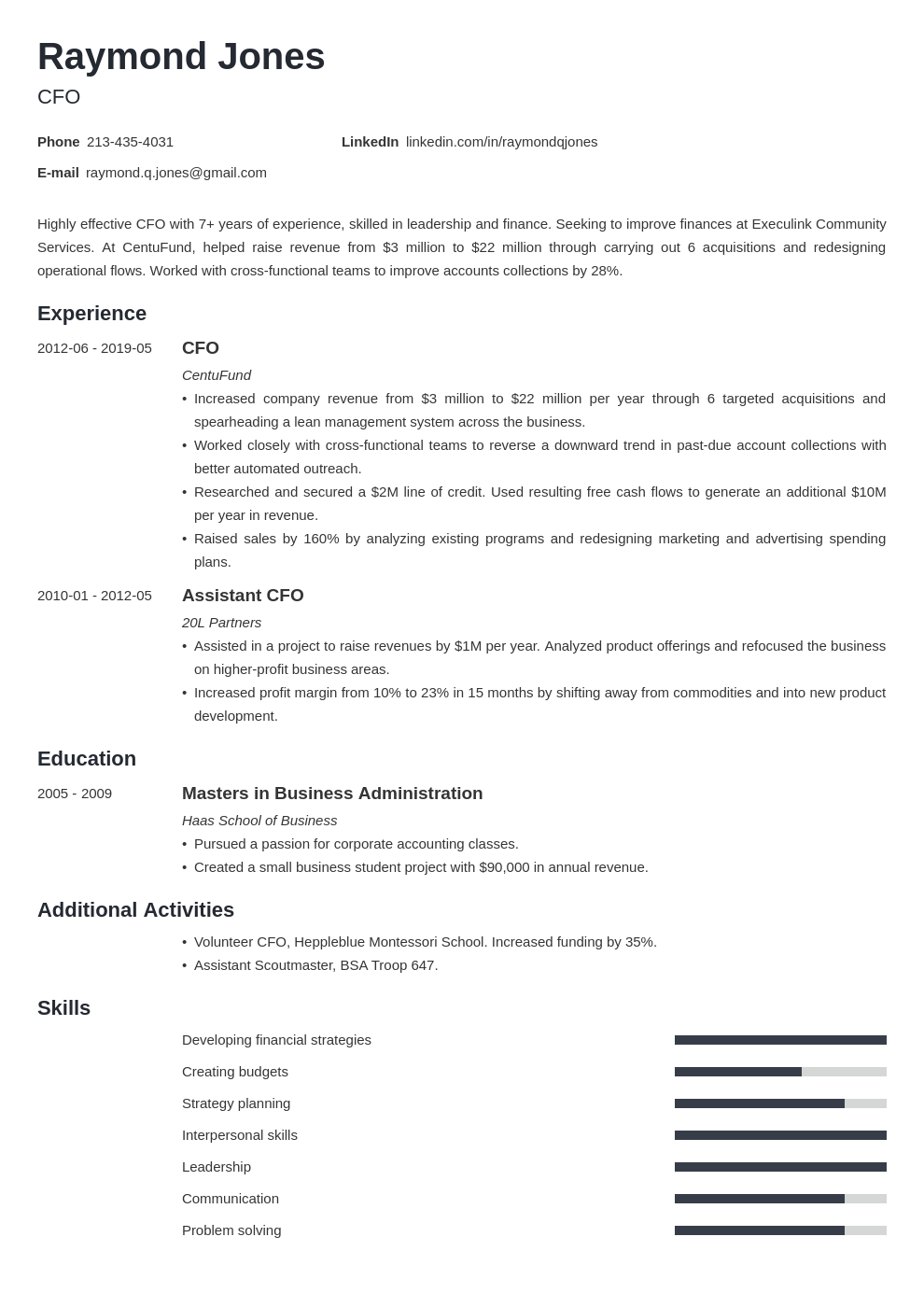 cfo resume example template minimo