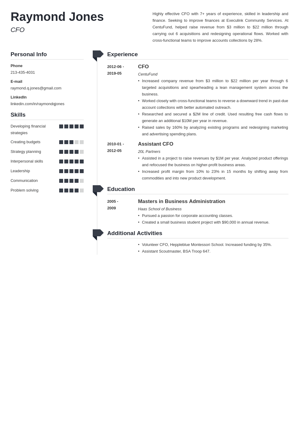 cfo resume example template muse