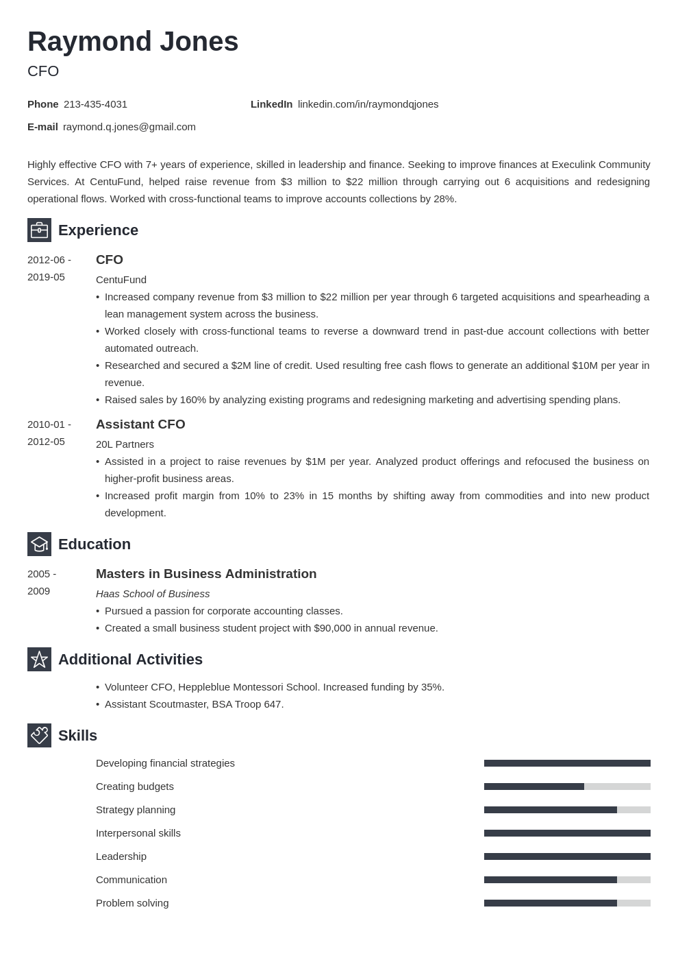 cfo resume example template newcast