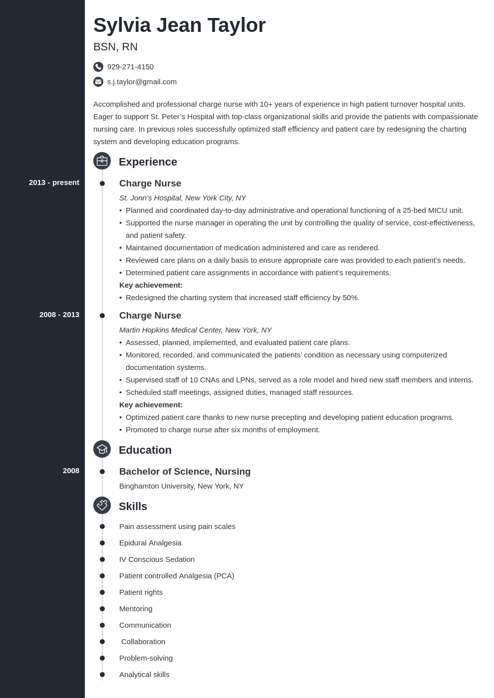charge nurse resume example template concept