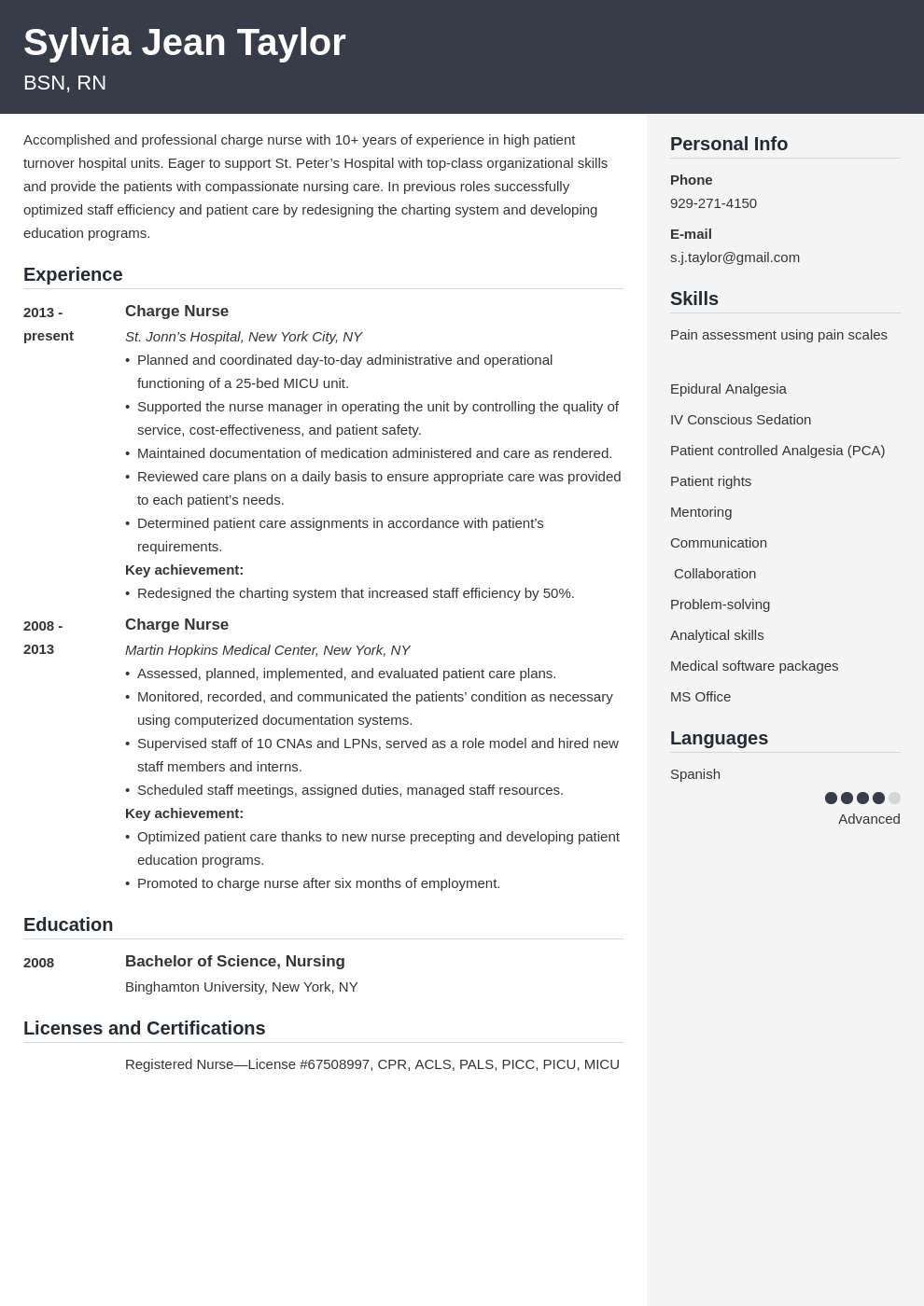 charge nurse resume example template cubic