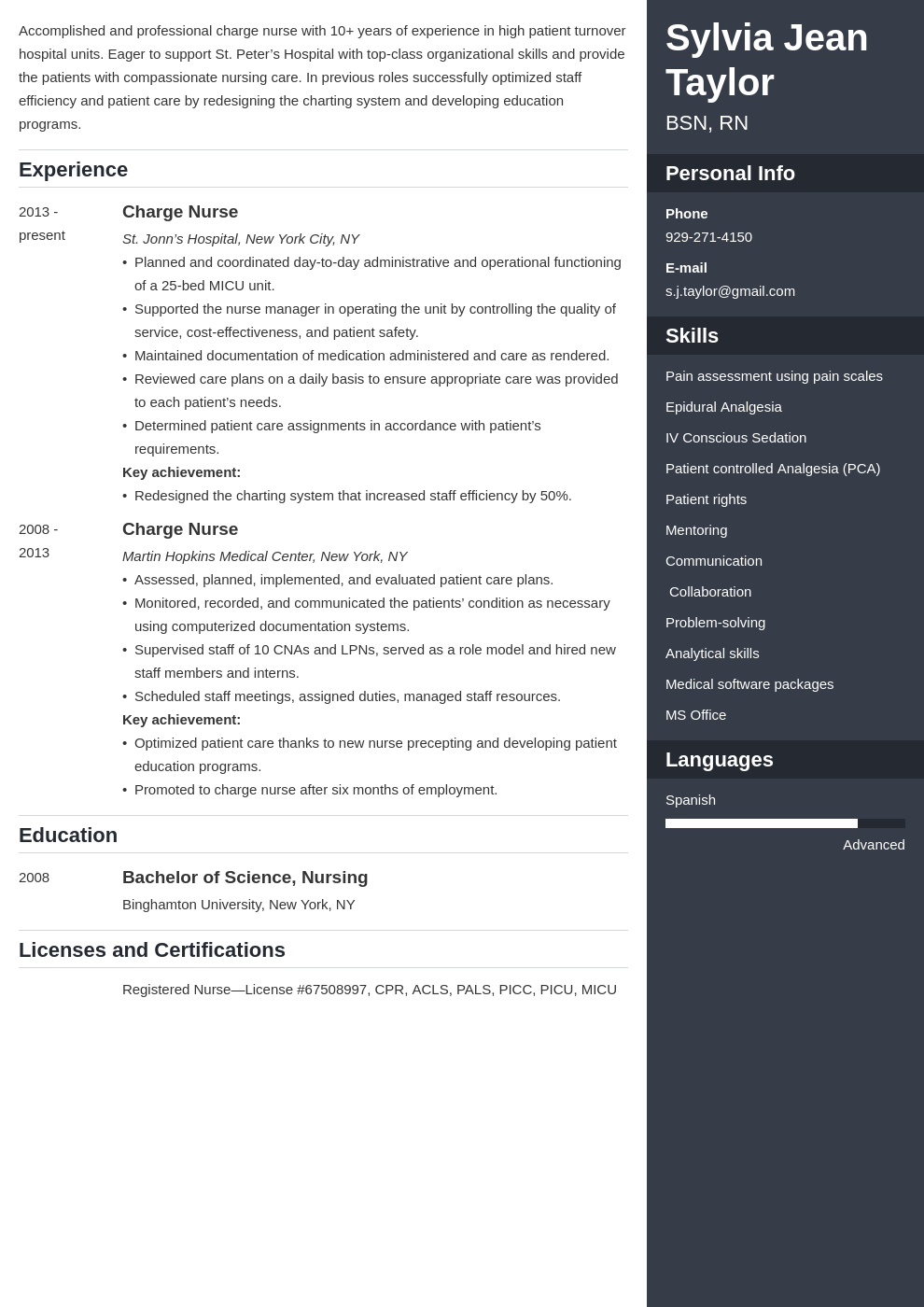 charge nurse resume example template enfold