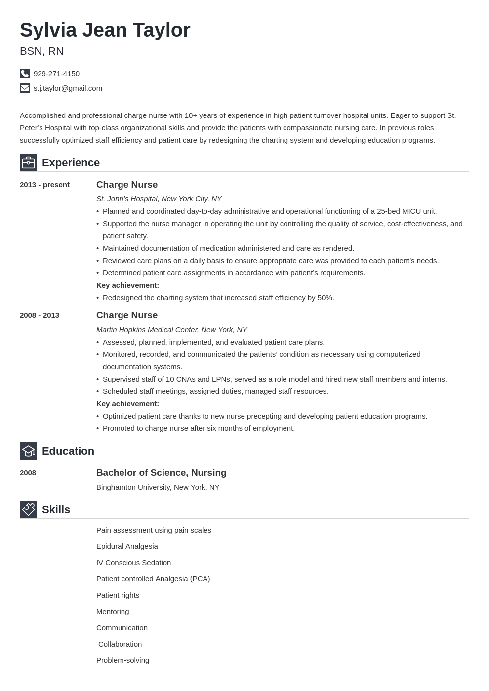 charge nurse resume example template iconic