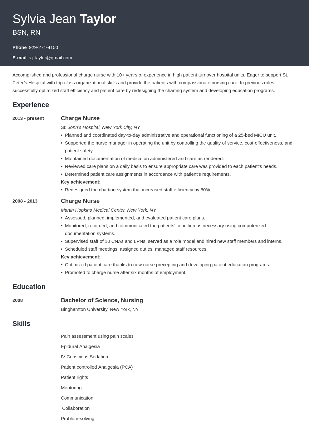 charge nurse resume example template influx