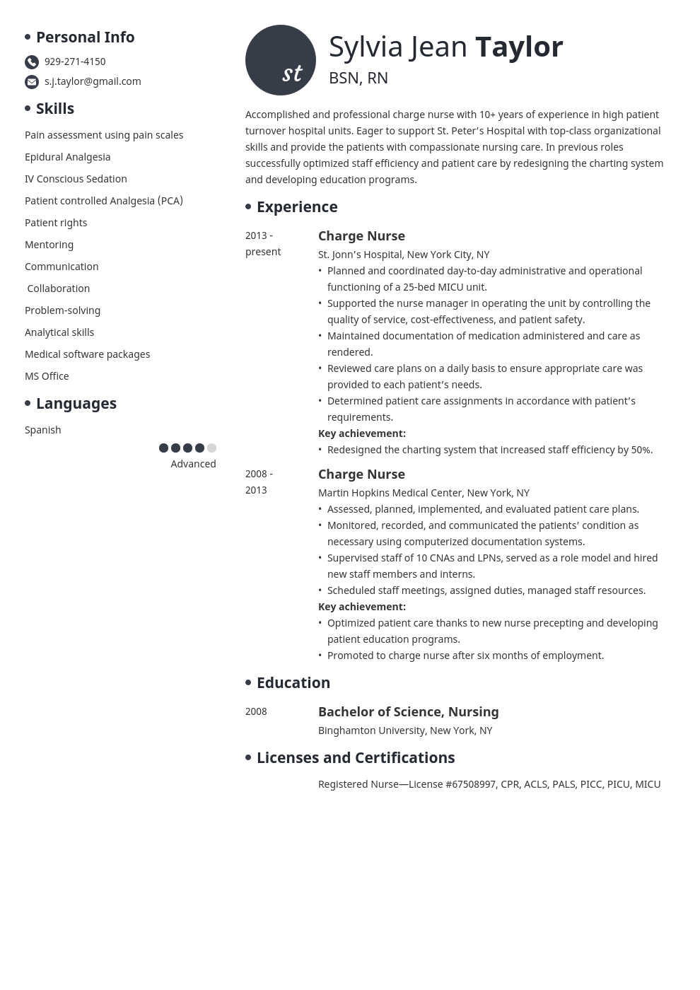charge nurse resume example template initials
