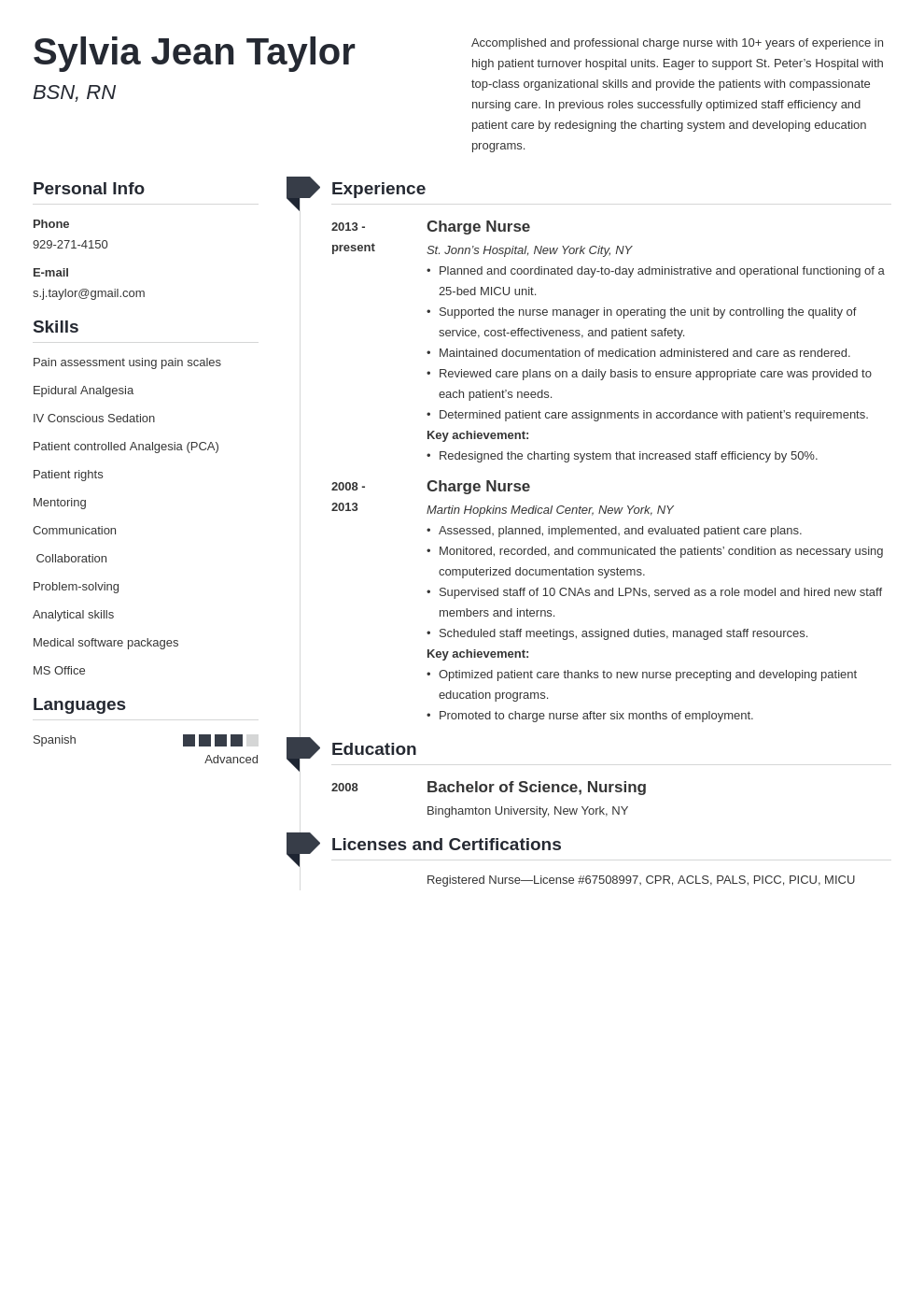 charge nurse resume example template muse