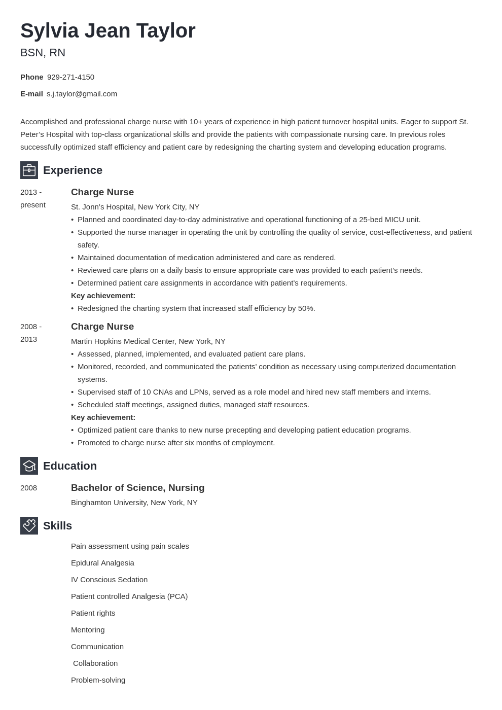 charge nurse resume example template newcast