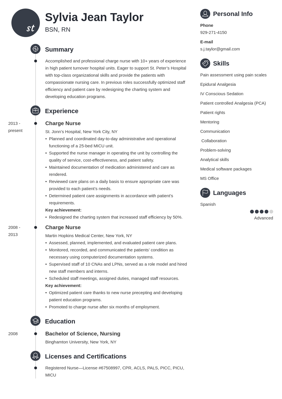 charge nurse resume example template primo