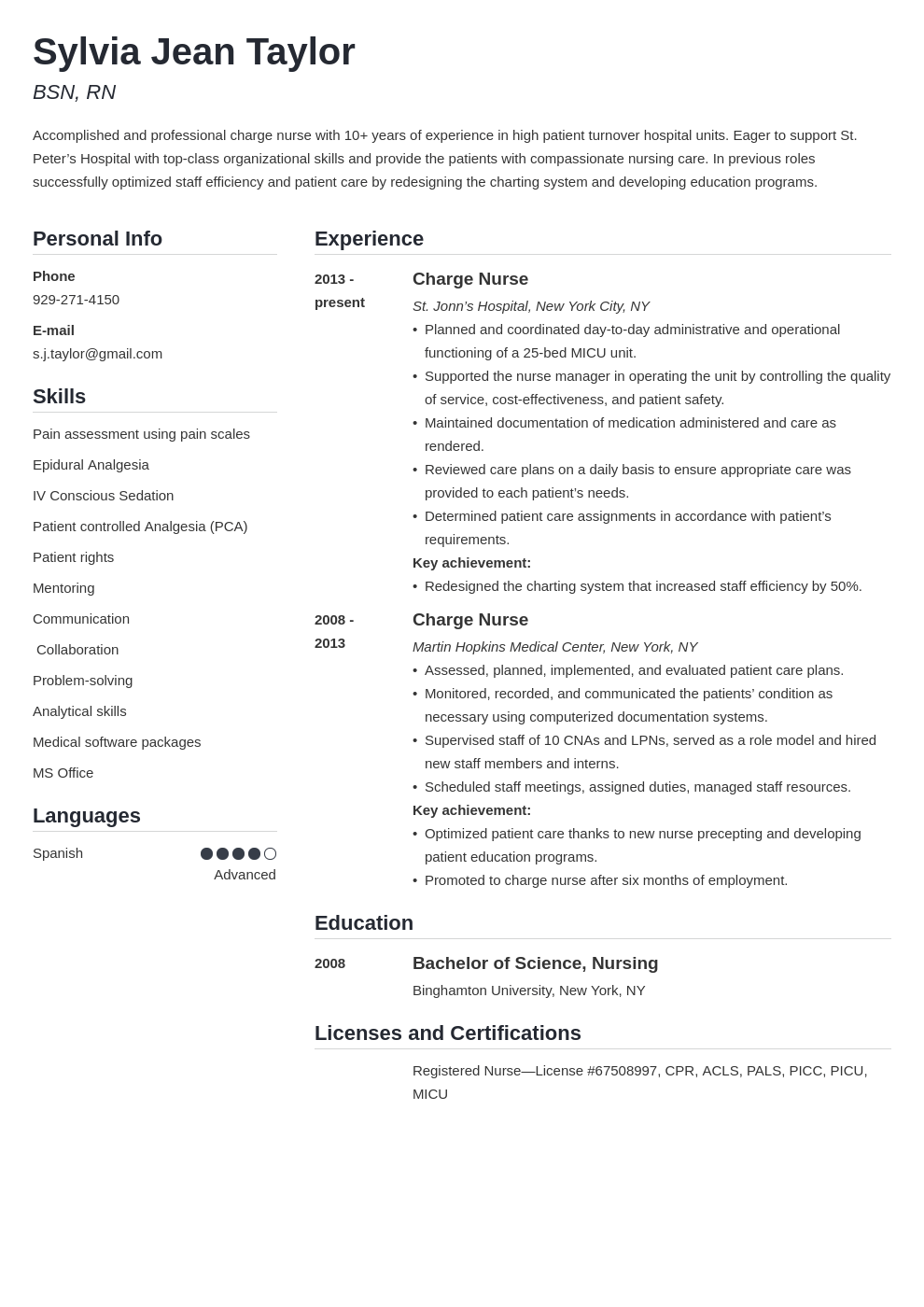 charge nurse resume example template simple
