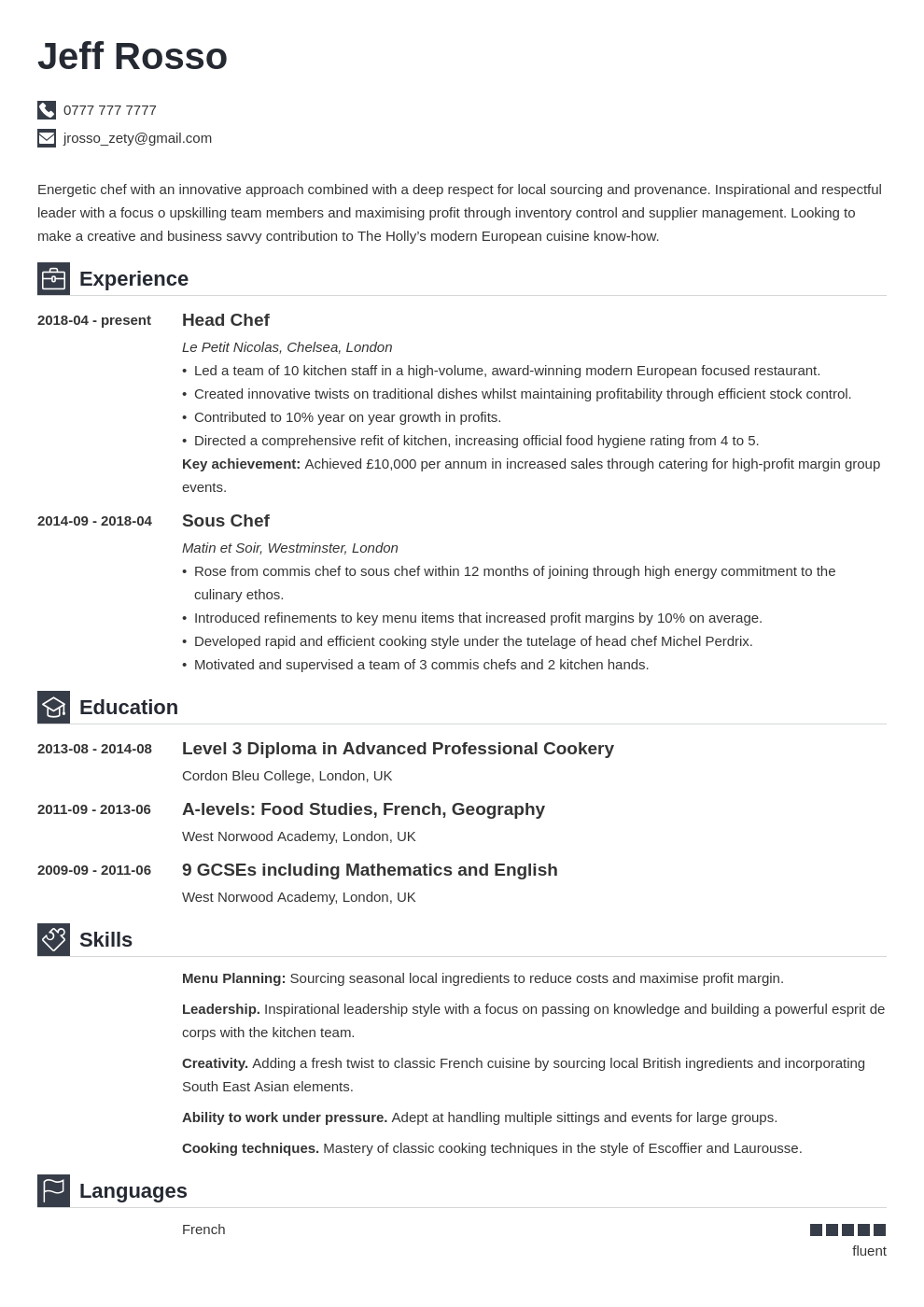 Chef Cv Example Writing Guide Template 20 Tips