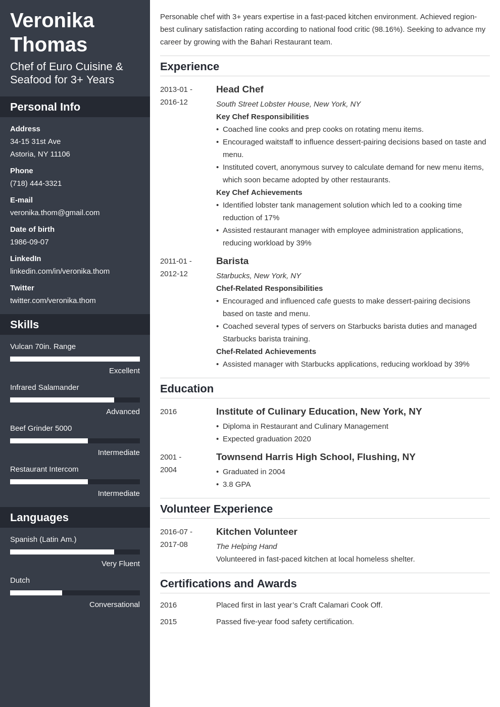 chef resume example template cascade