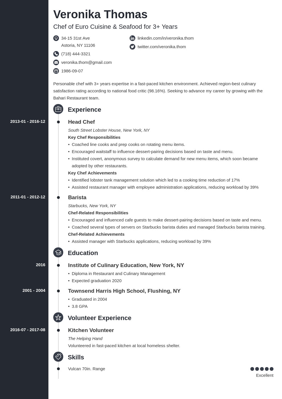 chef resume example template concept