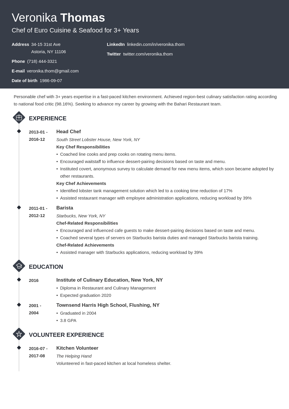 chef resume example template diamond