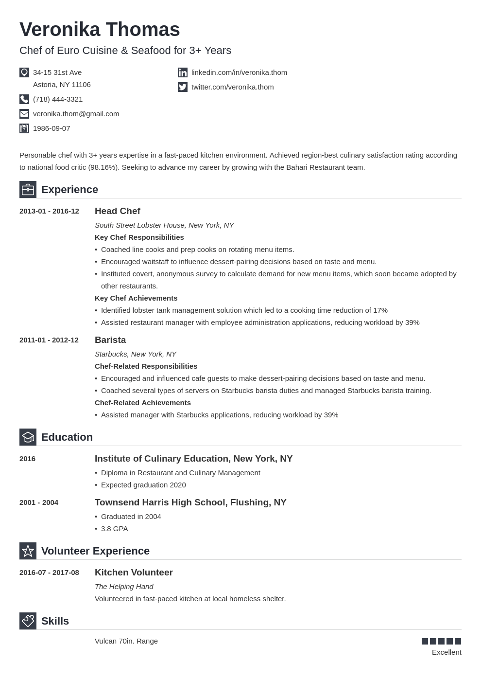 chef resume example template iconic