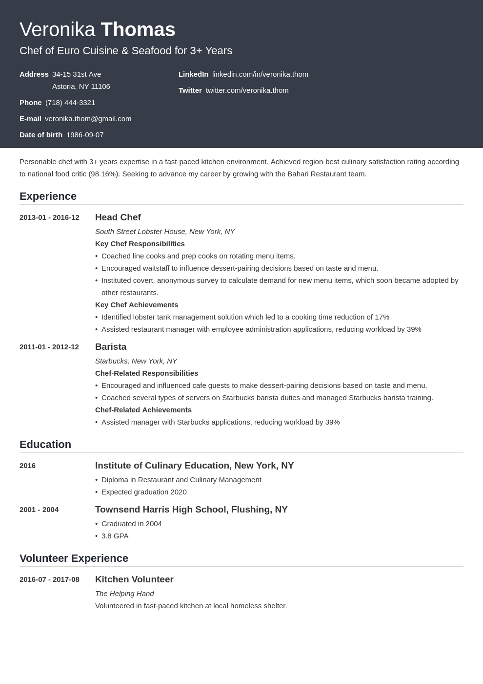 chef resume example template influx