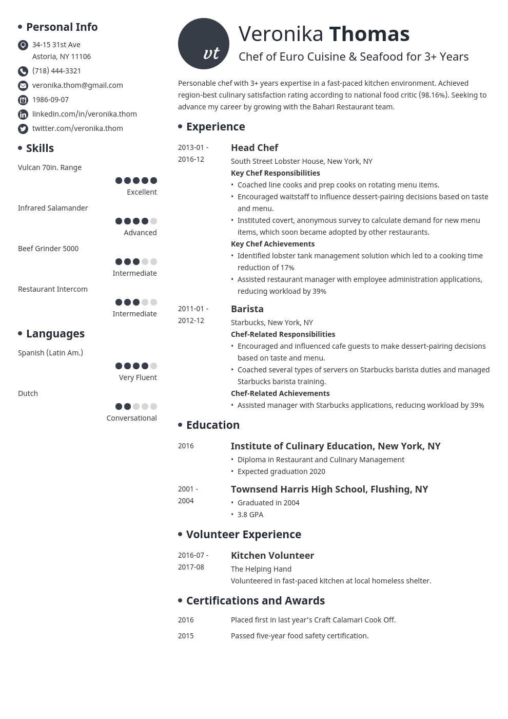 chef resume example template initials