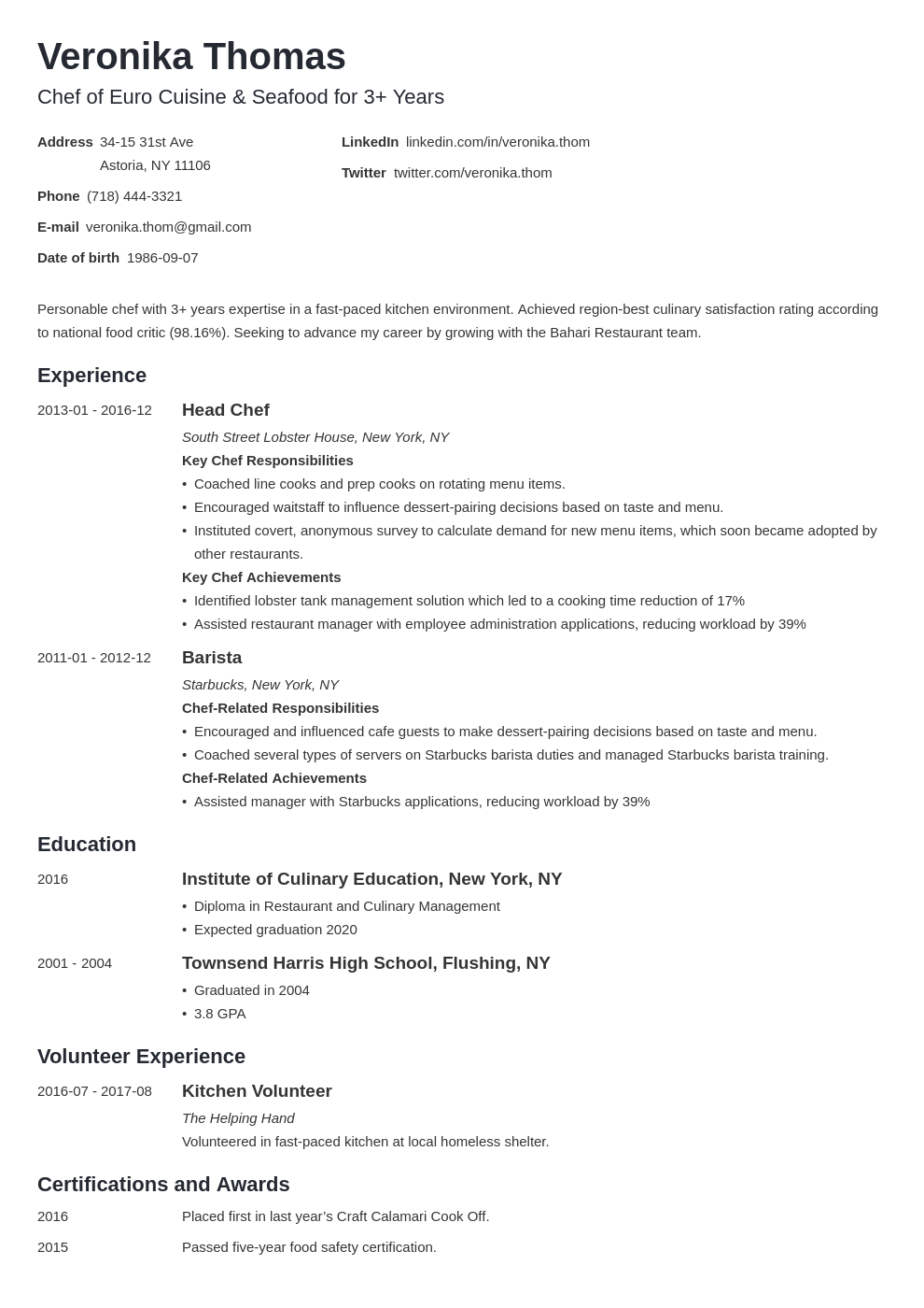 chef resume example template minimo