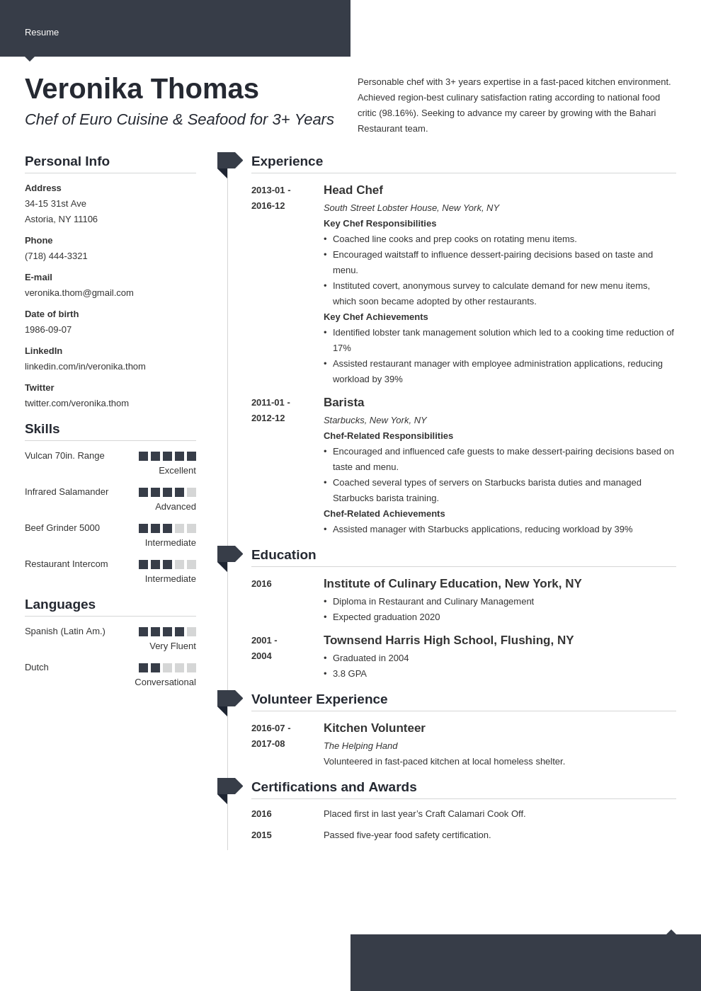 chef resume example template modern