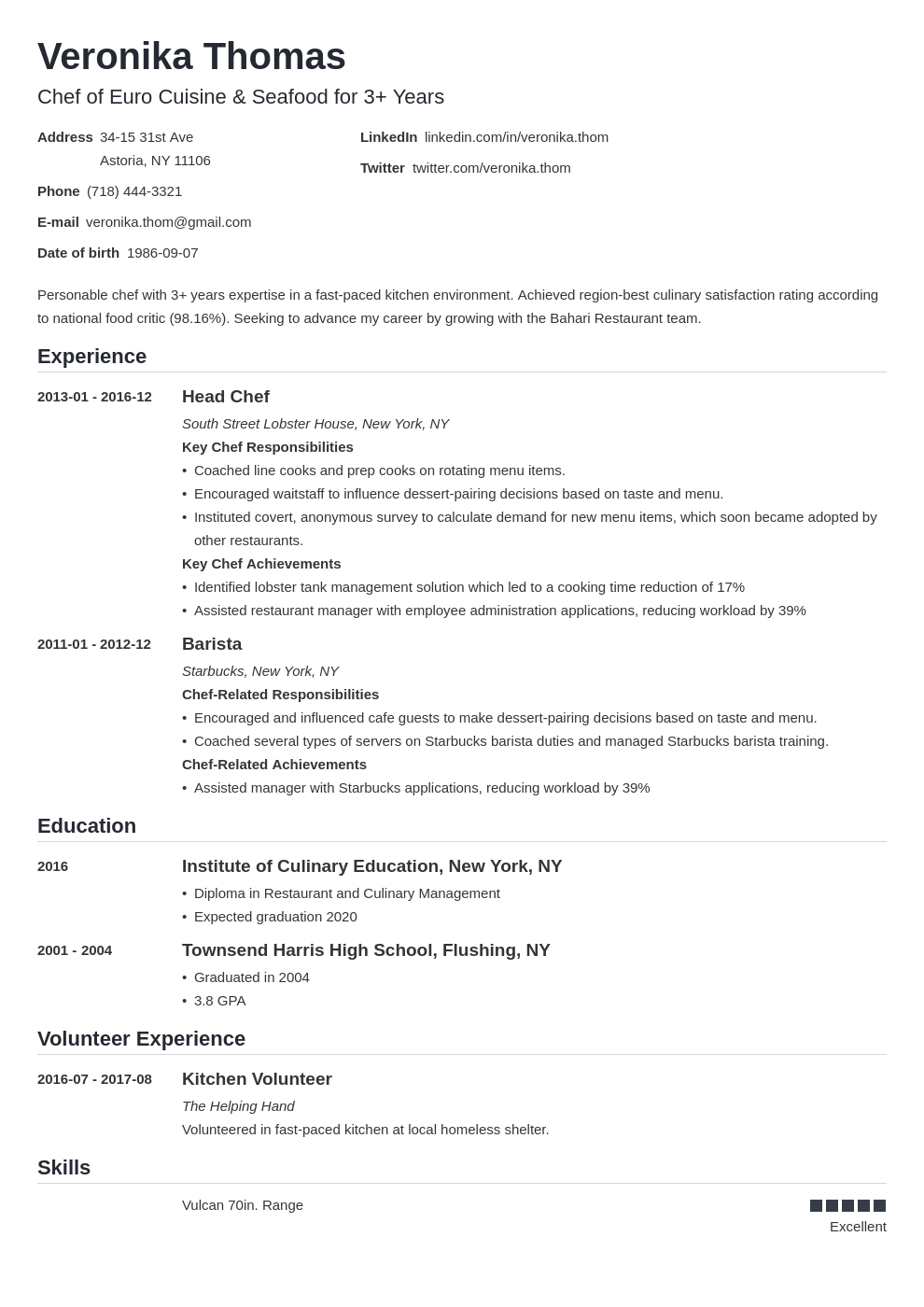 chef resume example template nanica