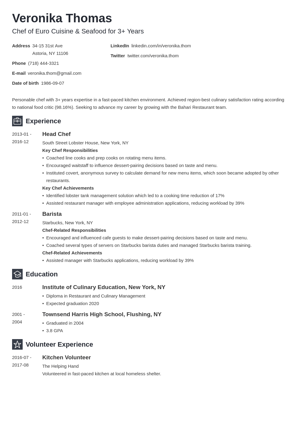chef resume example template newcast