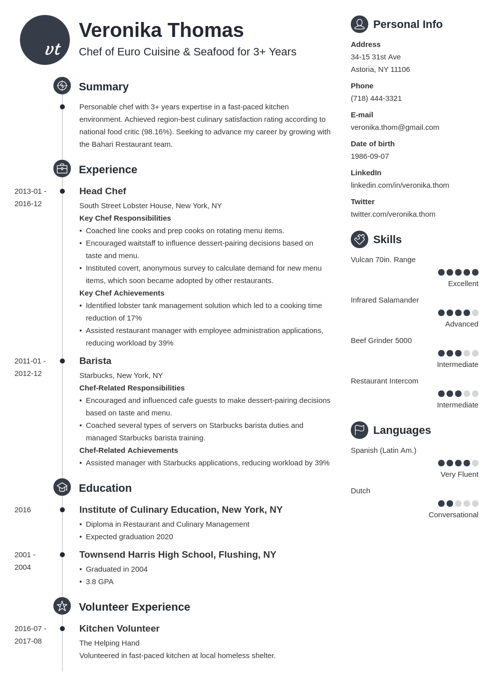 chef resume example template primo