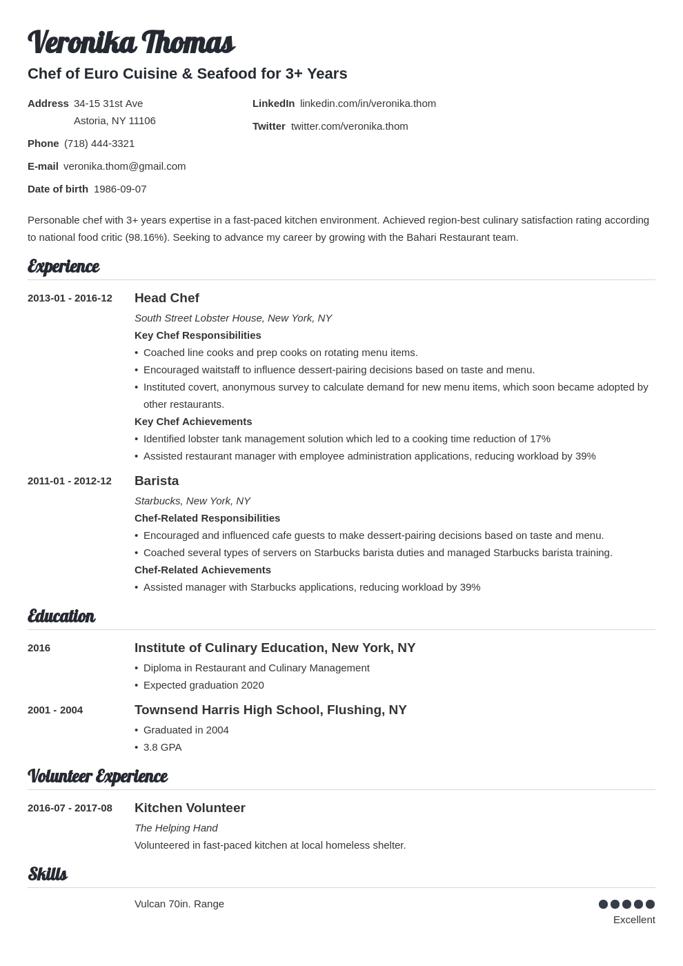 chef resume example template valera