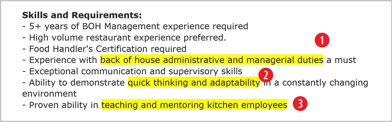 chef resume skills and requirements