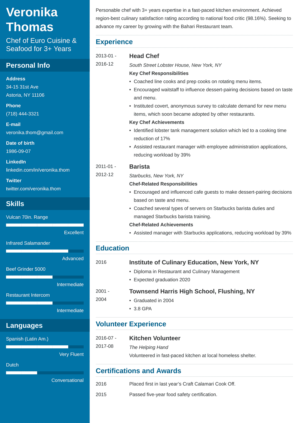 Chef Resume Examples: Template & Essential Skills