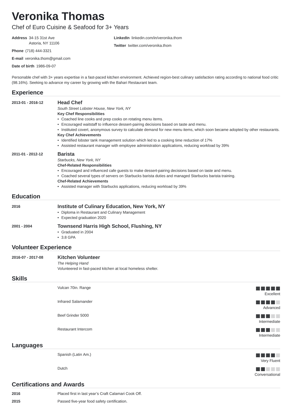 Chef Resume: Sample & Complete Guide [20+ Examples]