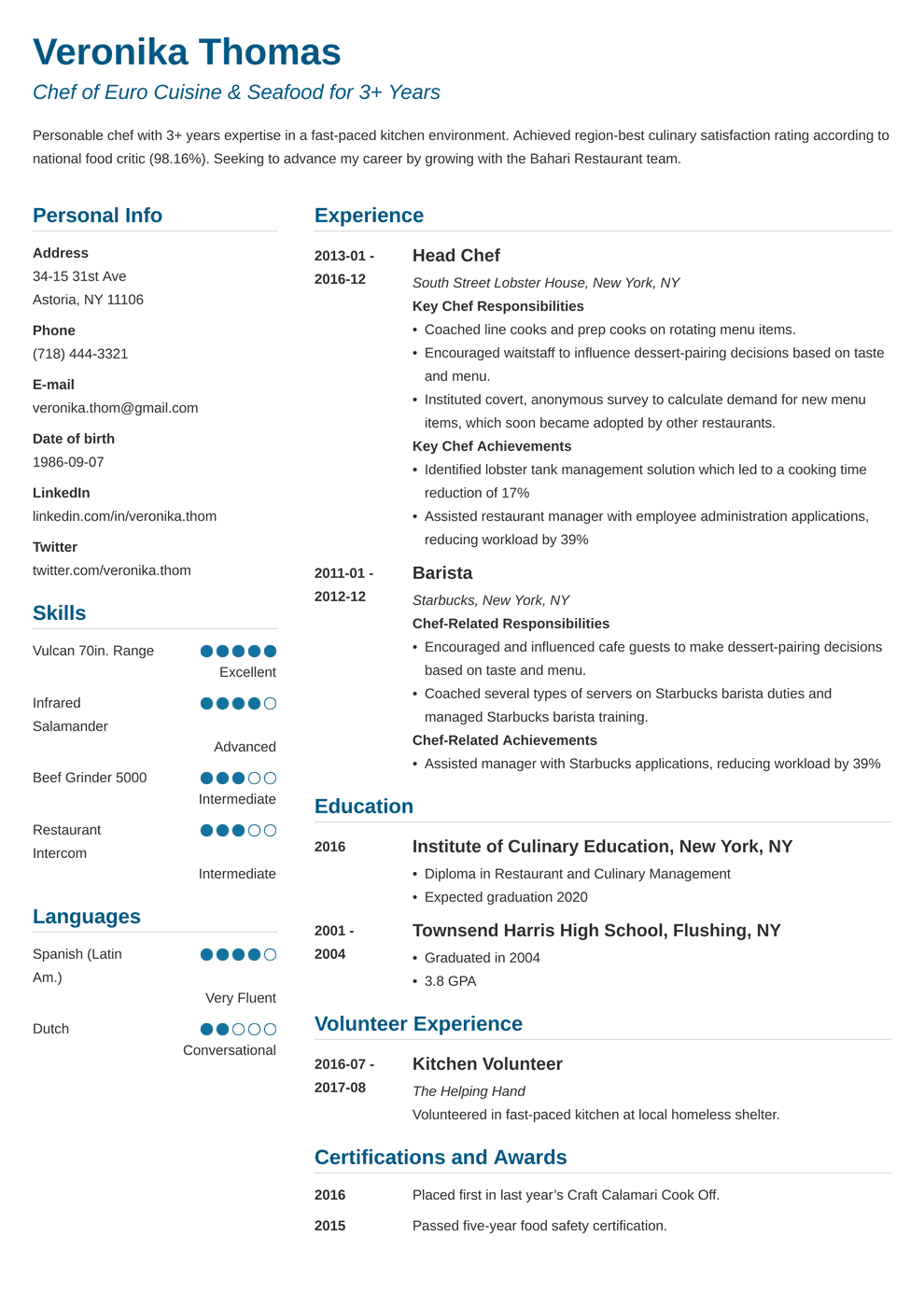Chef Resume Template | Chef Resume Sample Complete Guide 20 Examples