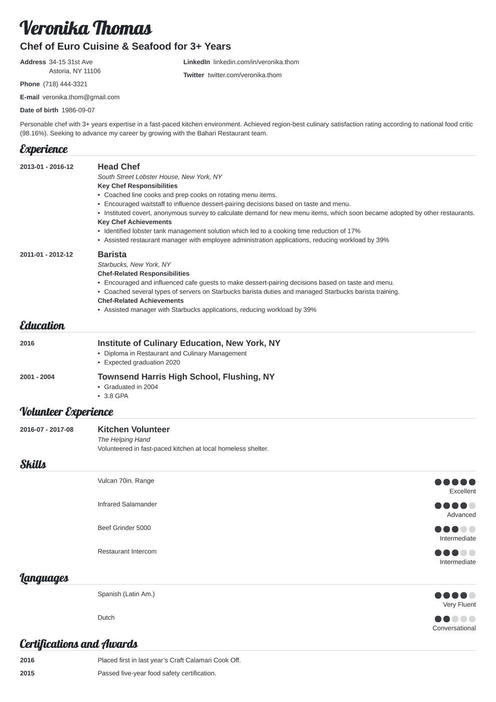 Chef Resume Sample Complete Guide 20 Examples