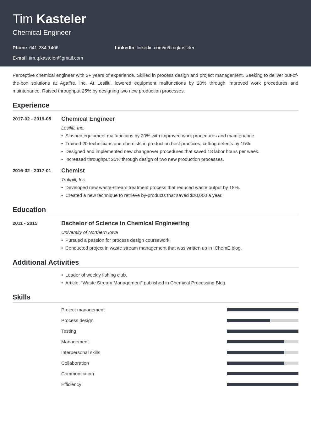 chemical engineer resume example template influx
