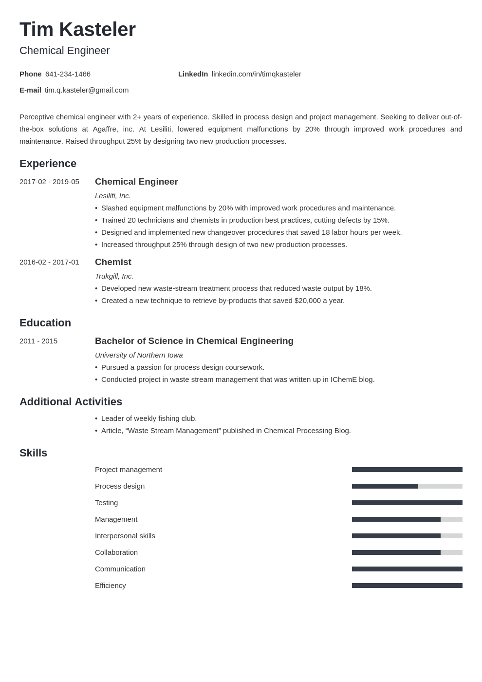 chemical engineer resume example template minimo