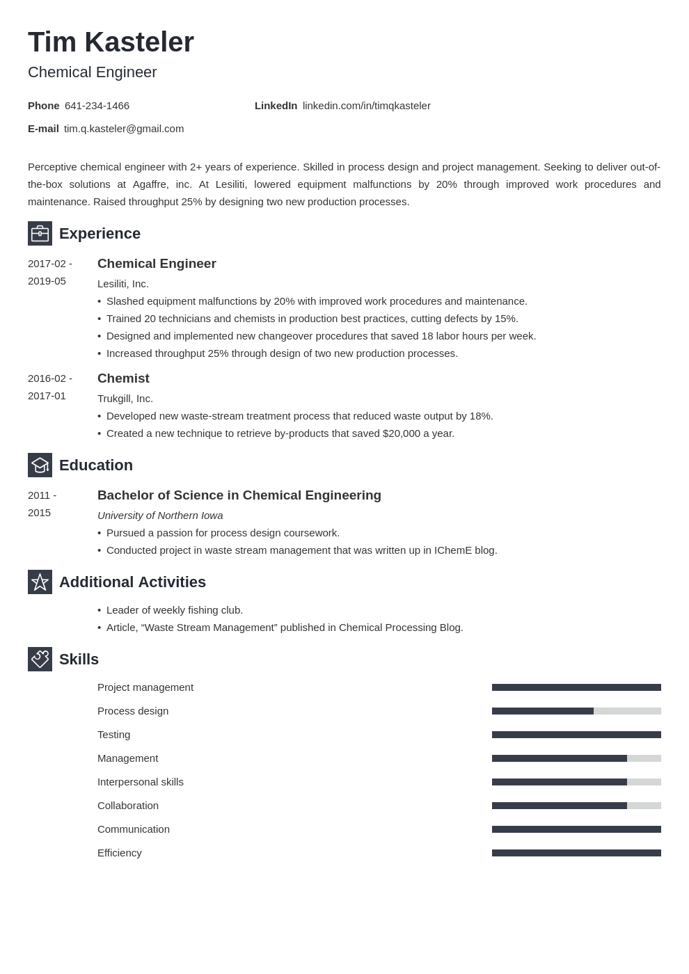 chemical engineer resume example template newcast