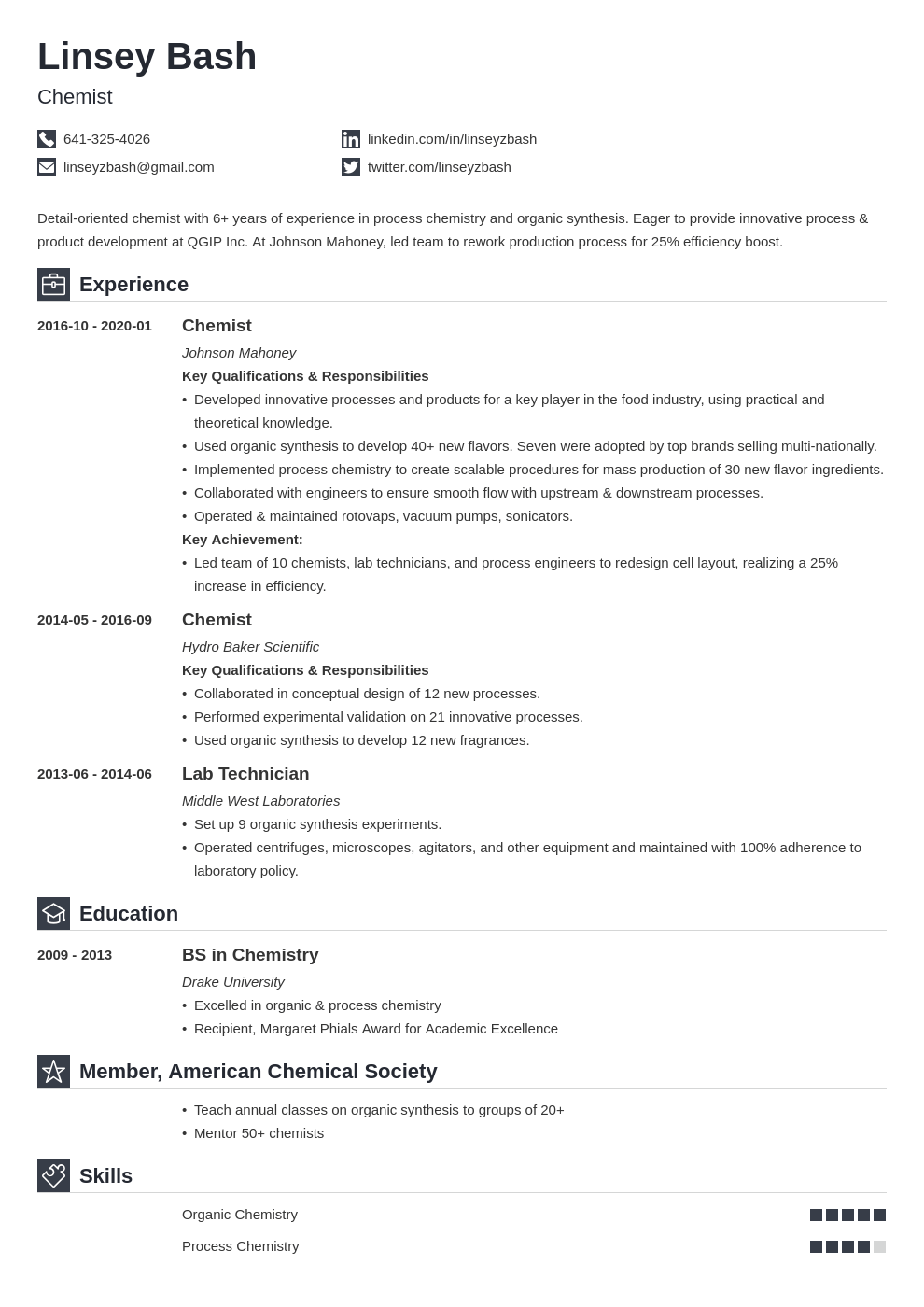 chemistry resume example template iconic