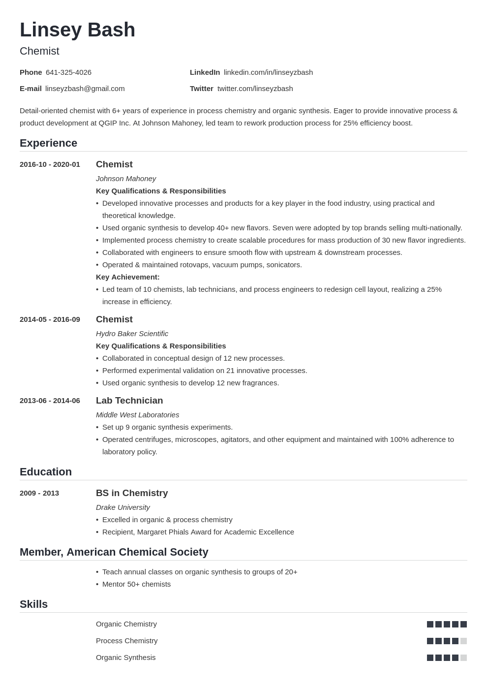 Chemistry Resume Examples Guide For Chemists