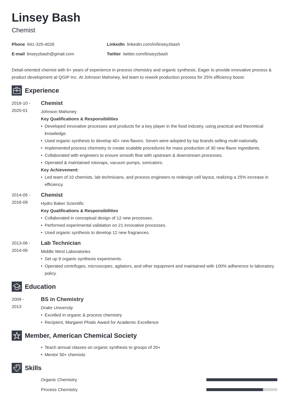 chemistry resume example template newcast