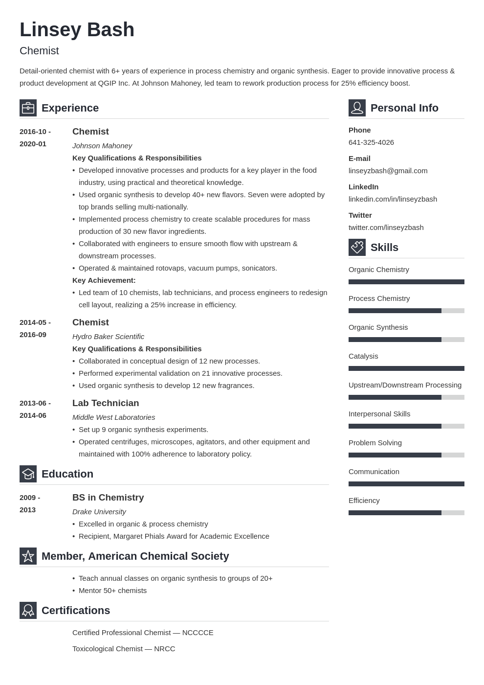 chemistry resume example template vibes