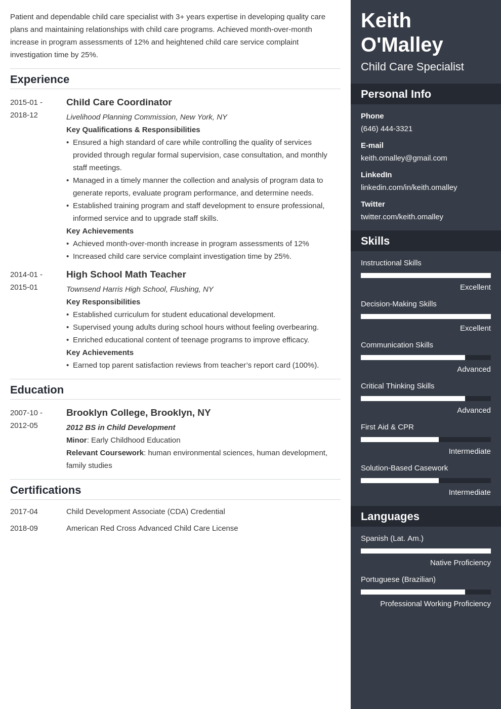 child care resume example template enfold