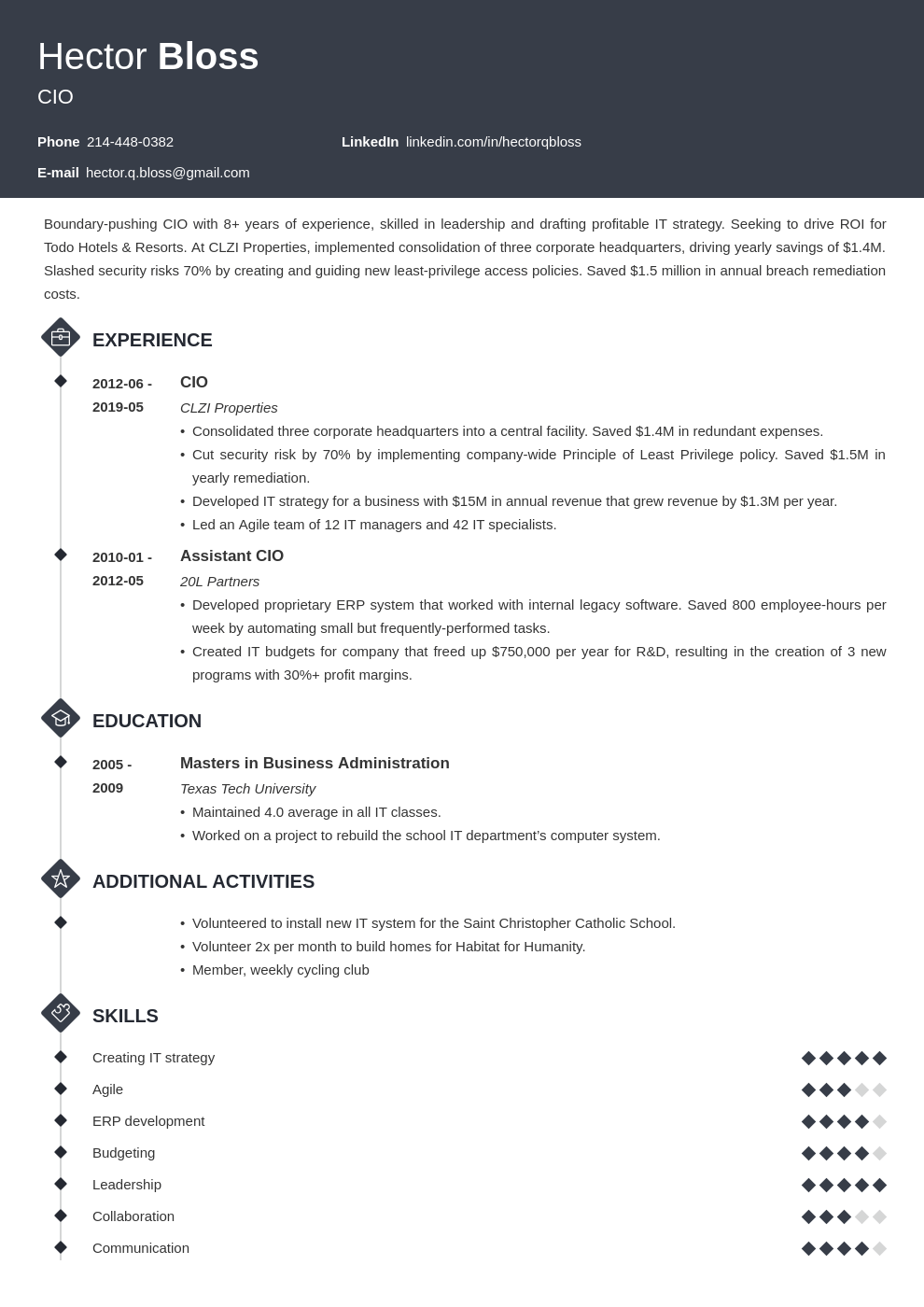 cio resume example template diamond