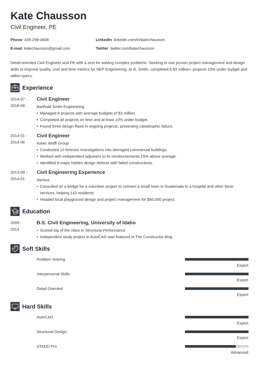 Civil Engineer Resume Examples Templates Format Skills