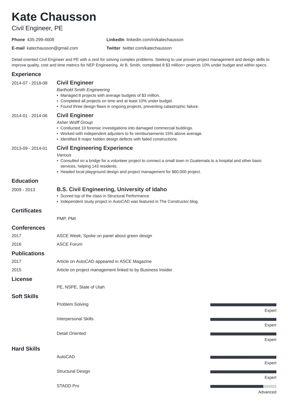 Civil Engineering Resume Sample And Complete Guide 20 Examples