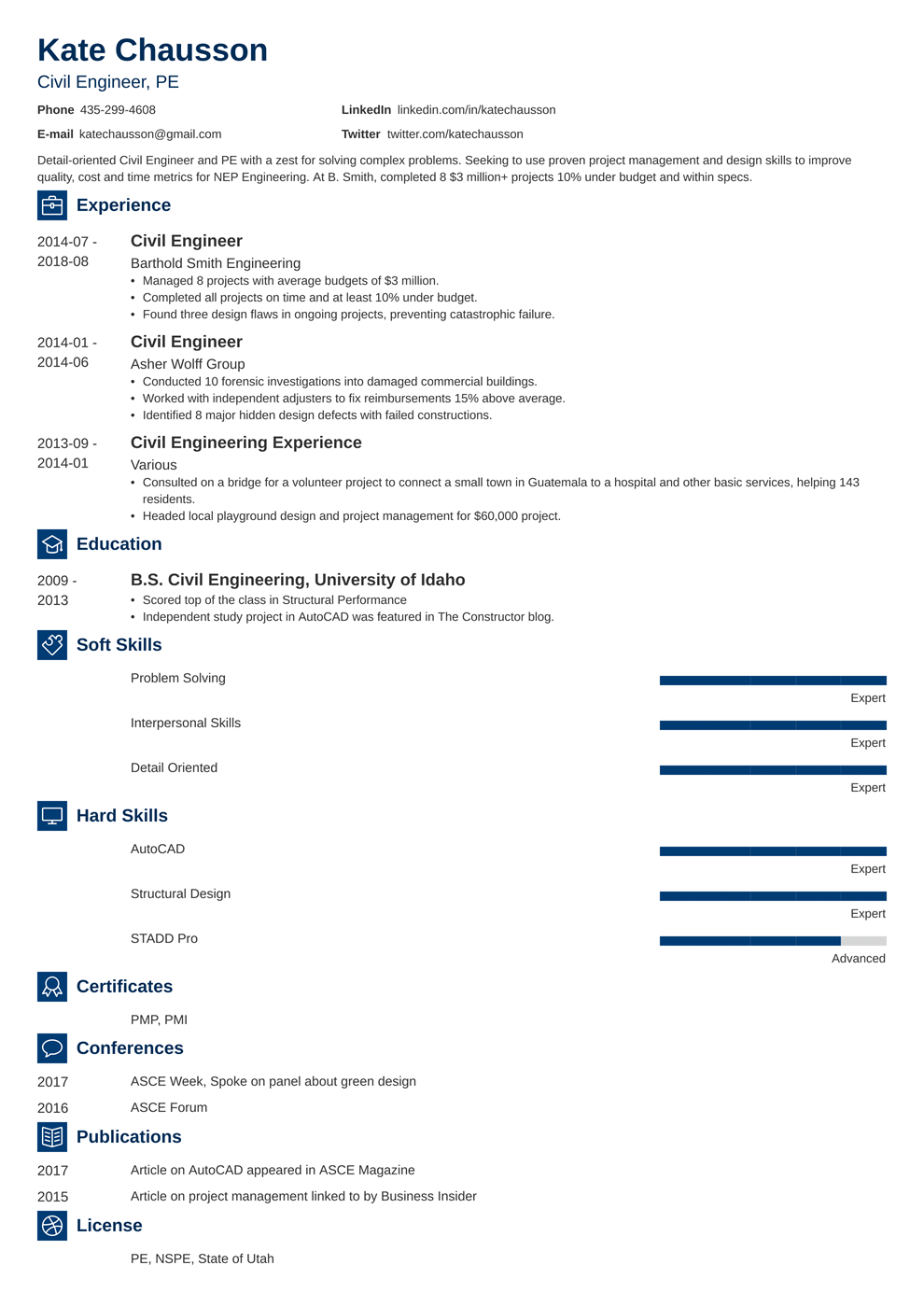 Civil Engineer Resume Examples Writing Guide Template