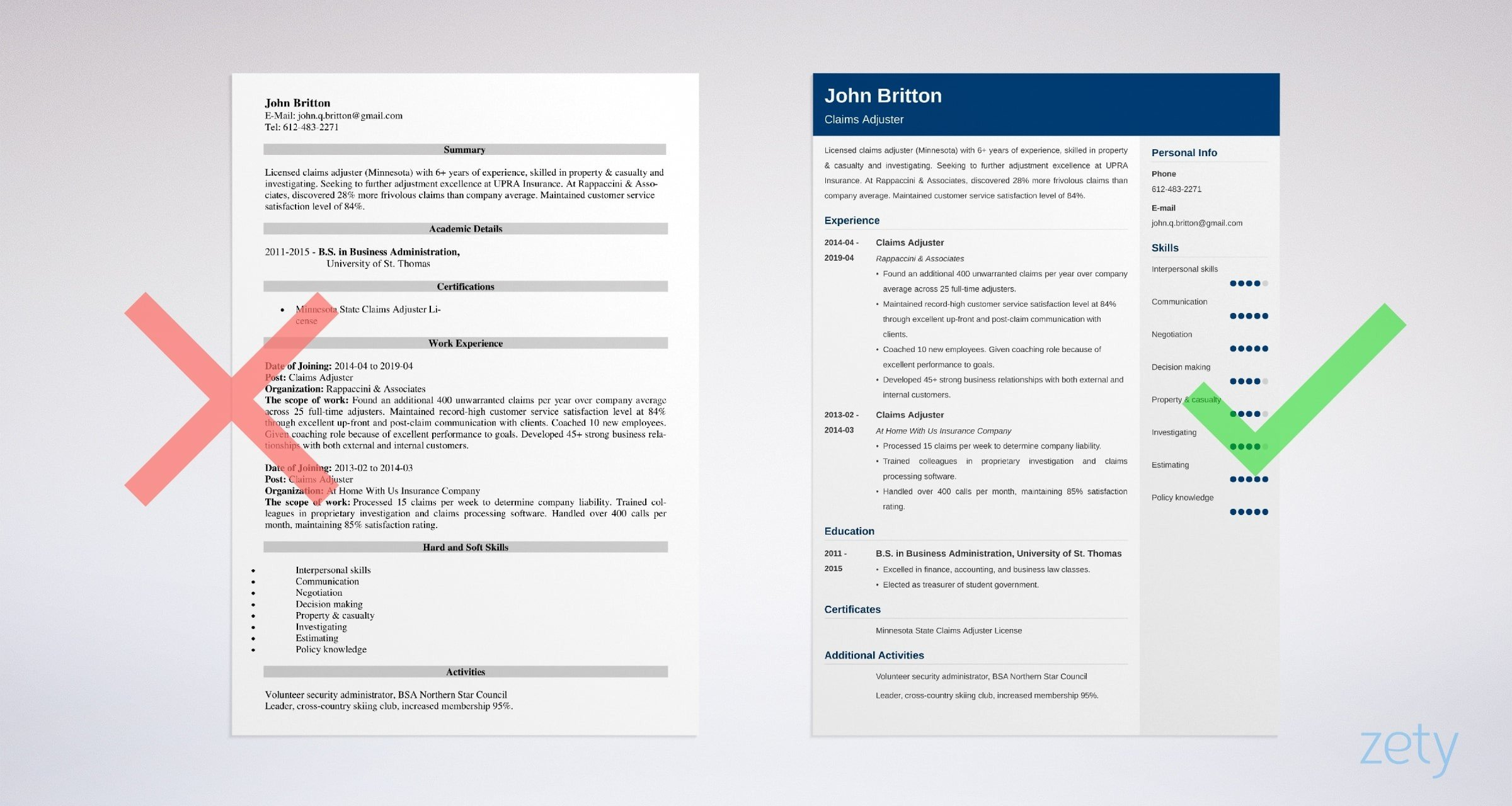 insurance claims adjuster resume sample with skills