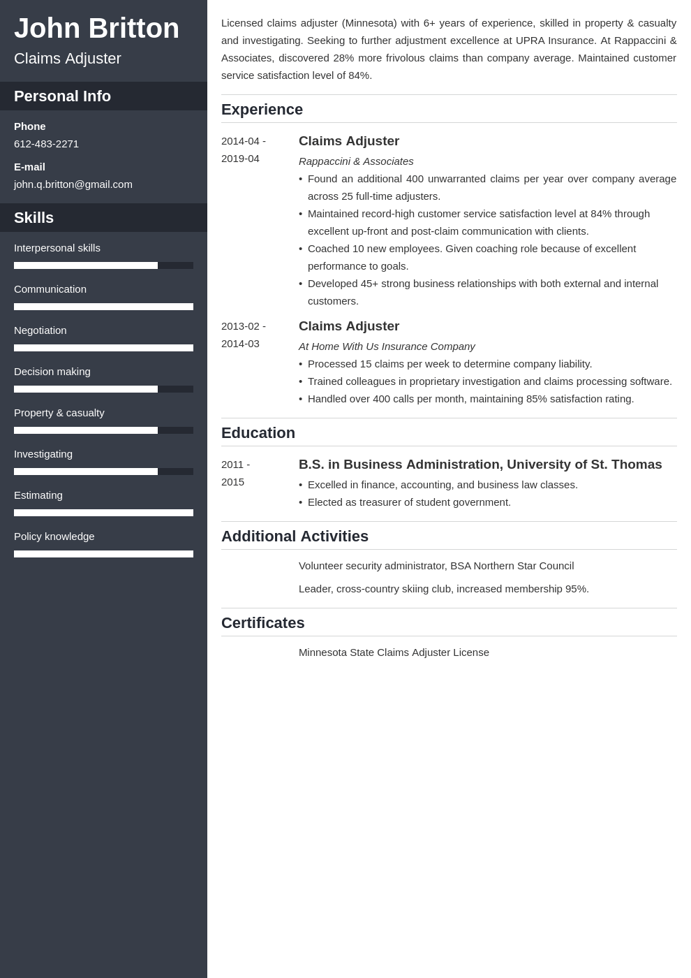 claims adjuster resume example template cascade