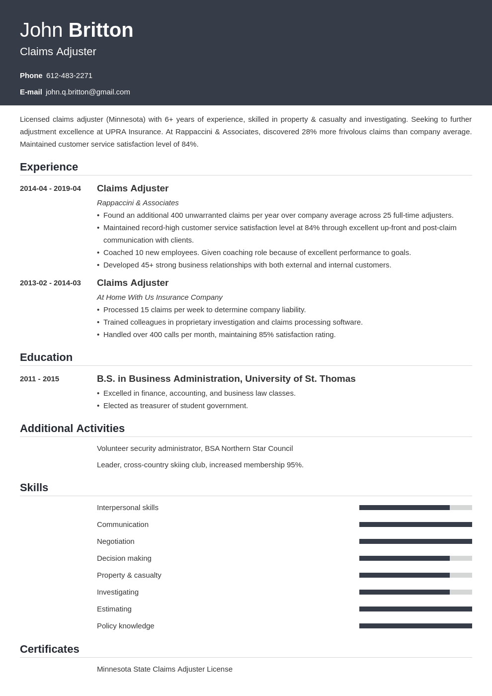 claims adjuster resume example template influx