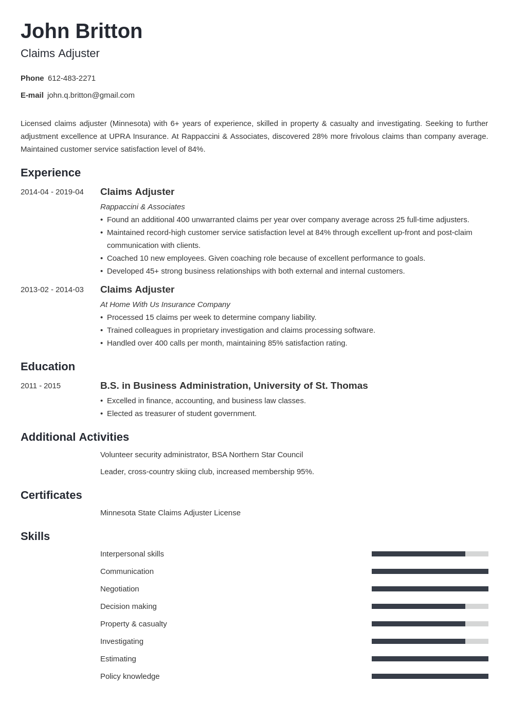 claims adjuster resume example template minimo