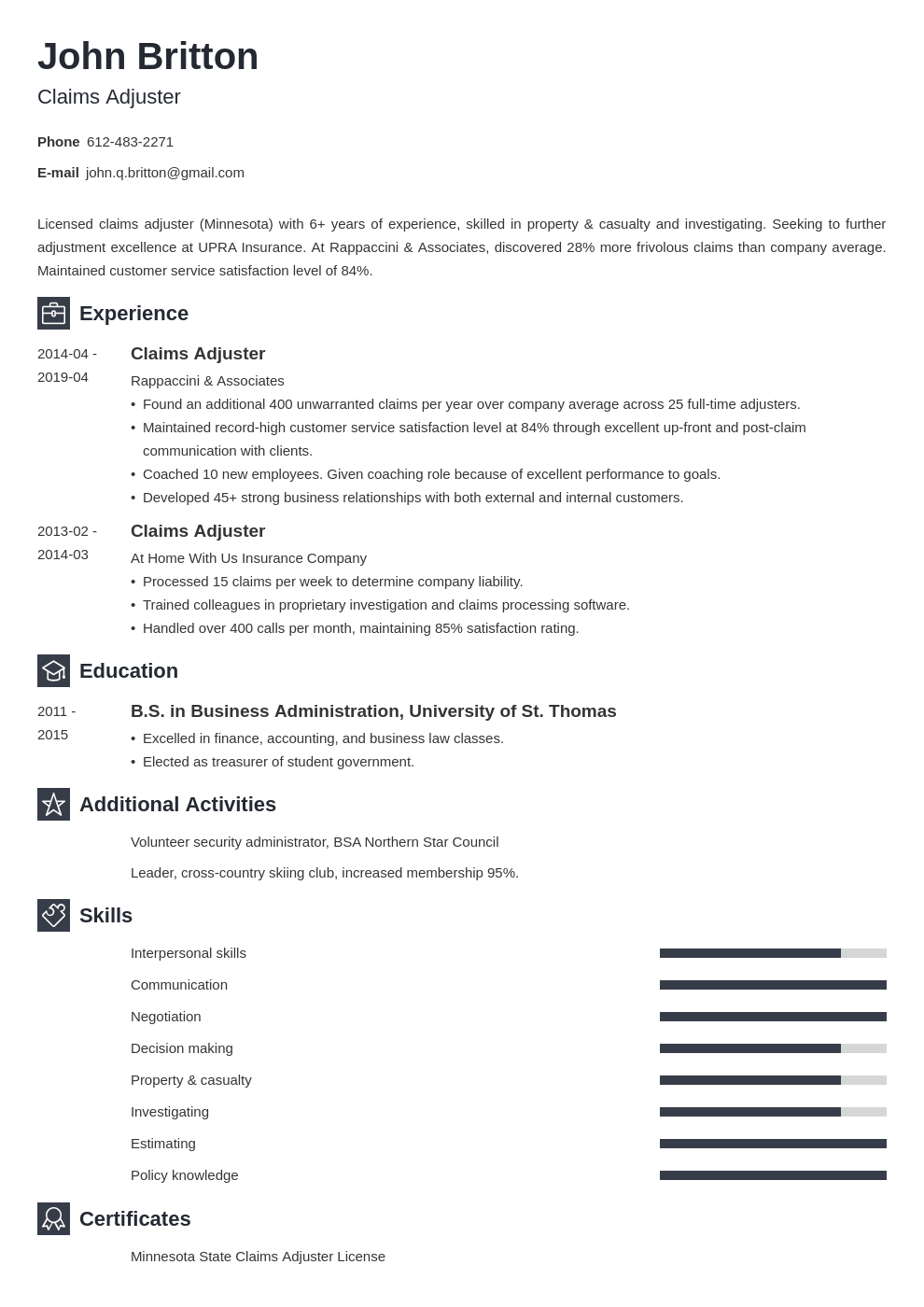 claims adjuster resume example template newcast
