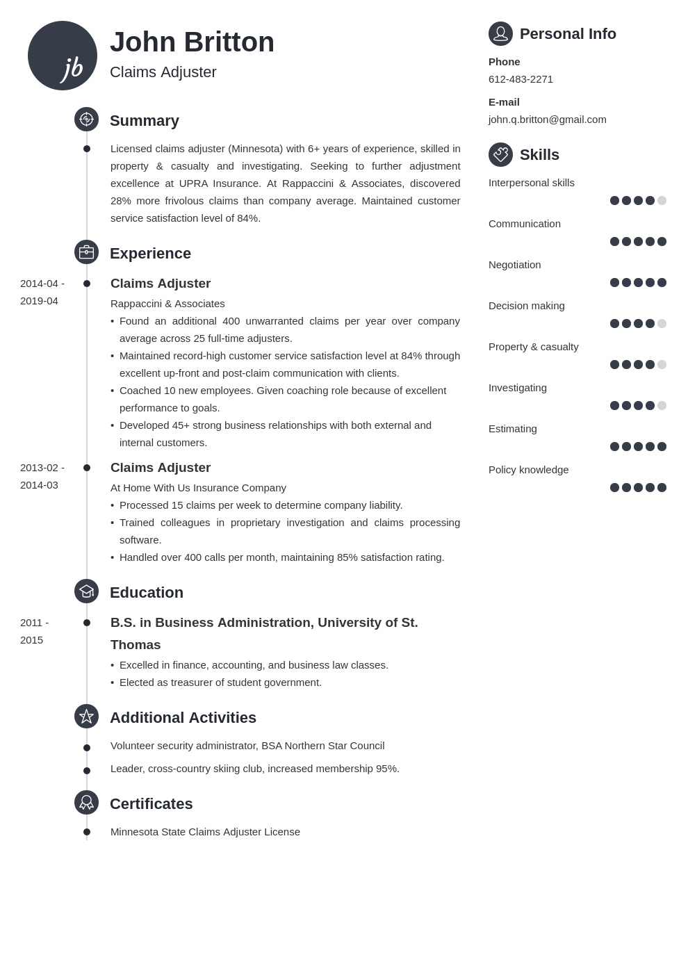 claims adjuster resume example template primo