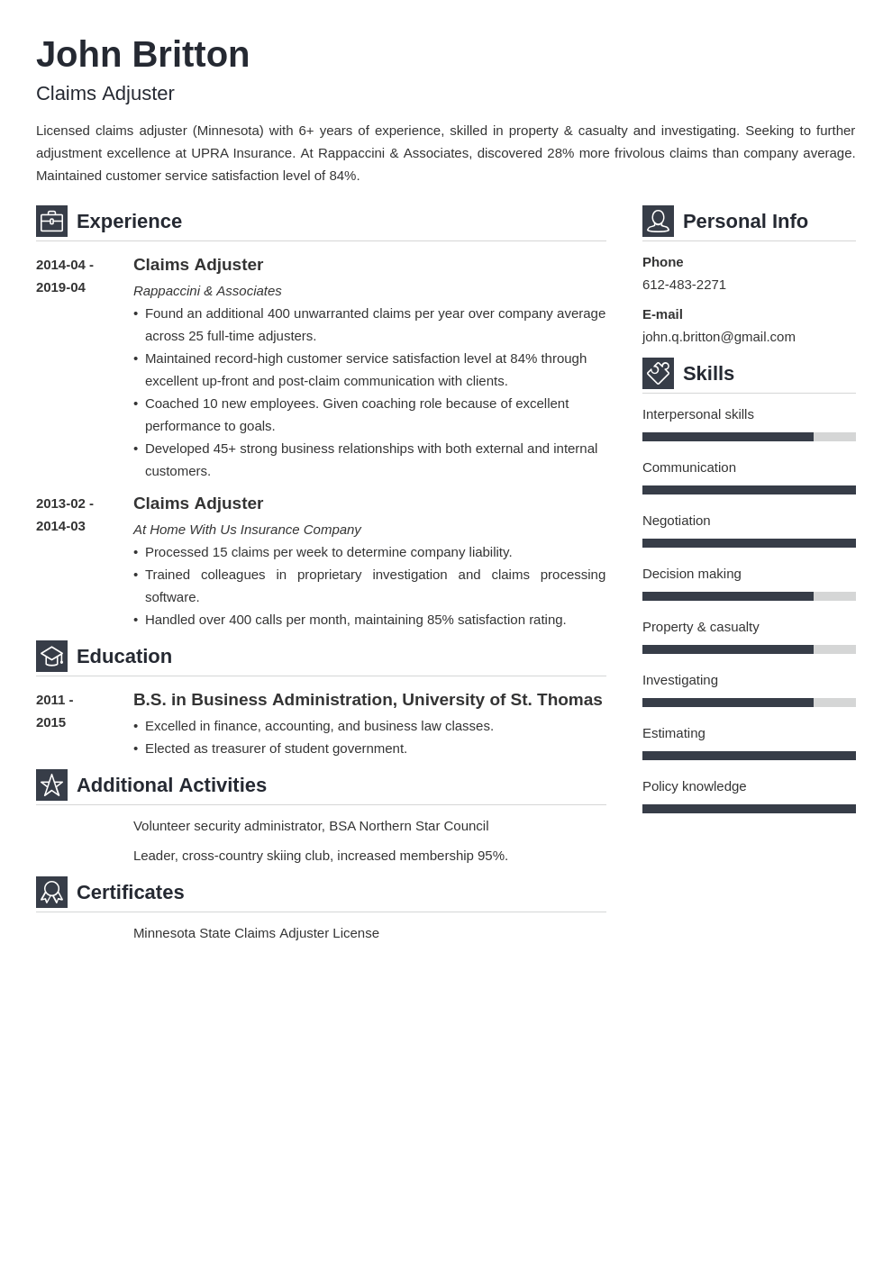 claims adjuster resume example template vibes